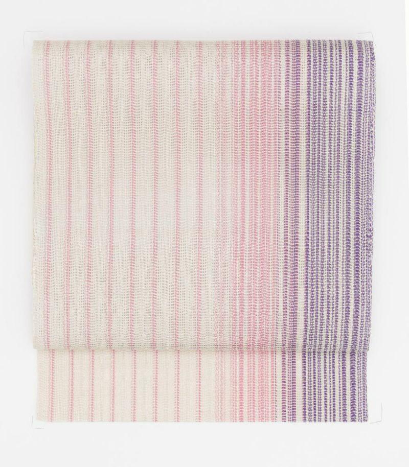 (新品)夏八寸帯/紫×P